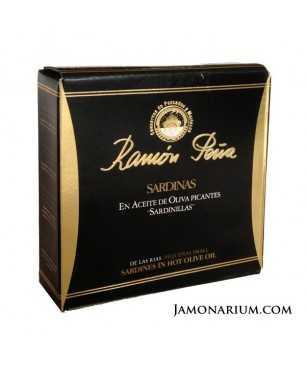 """Sardines à l'huile d'olive Ramón Peña (25 unités) """"Étiquette Noir"""""""