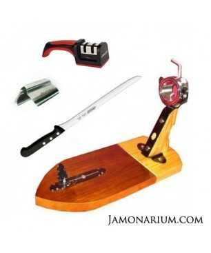 Pack A1 - Jamonero Bellota III + cuchillo Arcos + afilador + pinzas