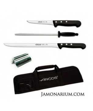 """Pack A4 - Kit básico """"Cortar jamón"""" con bolsa de cuchillos Arcos"""