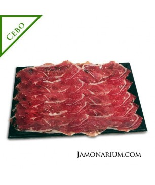 Sliced Cebo iberico ham tray