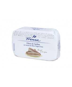 Filetes de sardinas sin piel ni espina en aceite de oliva virgen extra, 120g, Frinsa