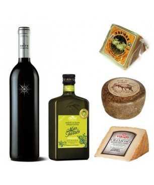 Lote Aceite Premium + quesos + vino