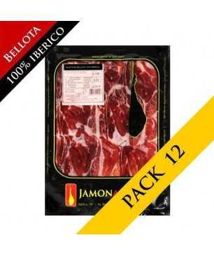 PACK 12 - Bellota Ibérico ham, 100% Iberian (Jabugo) - Pata negra sliced 100g