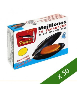 BOX x50 - Mussels in escabeche Dardo 12/16 (Galician Rias)