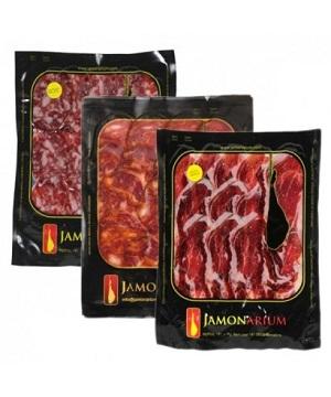 presentation ham iberico serrano sliced catering