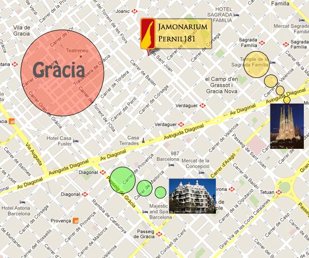 Jamonariu à Barcelone a coté de la Sagrada Familia, la Pedrera et Gracia