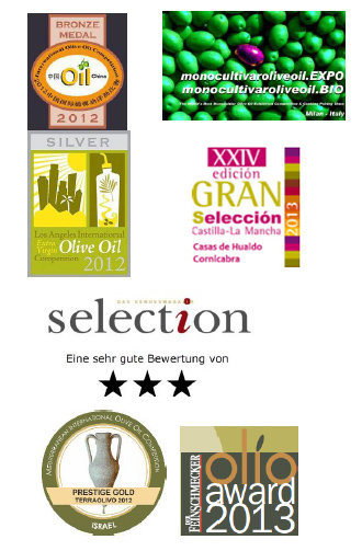 Extra virgin Olive Oil 100% Cornicabra Awards