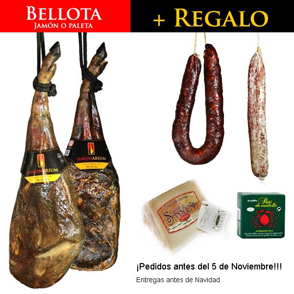 lote regalo de navidad con jamon iberico pata negra Bellota